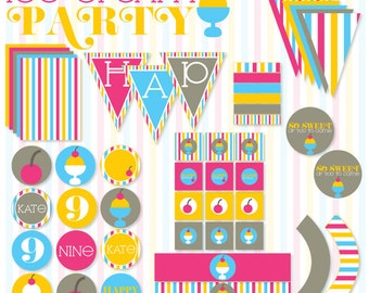 Modern Ice Cream Party PRINTABLE Full Birthday Party from Love The Day