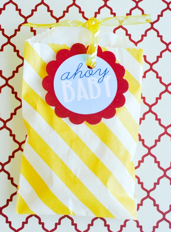 Nautical Baby Shower PRINTABLE Party Tags (INSTANT DOWNLOAD) by Love The Day