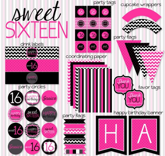 Sweet Sixteen PRINTABLE Party Full Collection by Love The Day