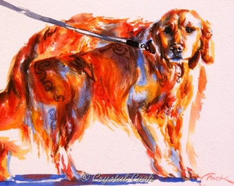 original watercolor painting golden retreiver art small wall decor for dog lovers 5 x 7