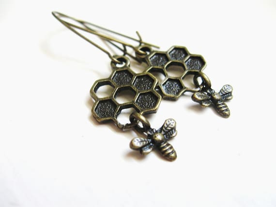 Bee Earrings - Honey Bee Earrings - Tiny Honeycomb Bee earrings - Antiqued Aged Brass