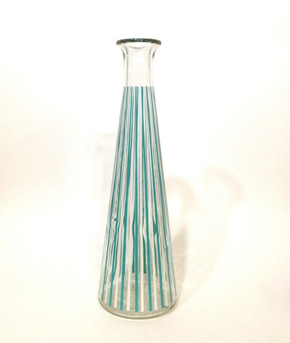 Mid Century Decanter / Vase / Beaker - Tall Aqua Blue and White Vertical Stripes Clear Glass