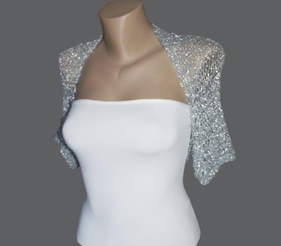 Knit Silver Bolero Wedding Bolero Shrug Sleeves Jacket Size