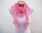 Triangle Oya Scarves, Turkish Scarf, Yemeni shawl, Crochet Oya, Pink, Traditional Women Fashion Accessories