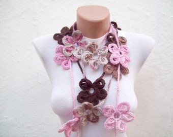 Flower Wrap Scarf, Autumn Crochet Necklace, Oya Lariat Scarves, Floral Crocheted Jewellery, Women Accessories, Christmas Gift, Pink Brown