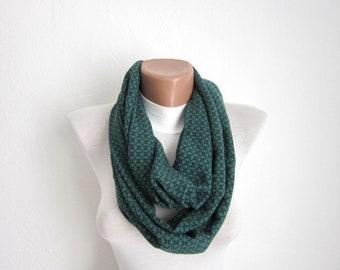 Infinity scarf Loop scarf Neckwarmer Necklace scarf   fabric  scarf green black  Gift Ideas Women scarf