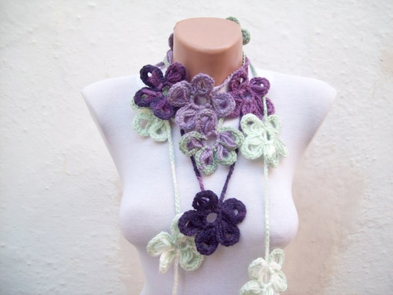Handmade crochet Lariat Scarf Purple Lilac Green White White Flower  Colorful Long Necklace  winter fashion women scarf  mothers day