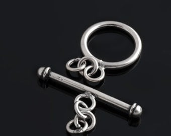 1 Sterling silver toggle clasp 13mm round plain toggle clasp - btsp001-z