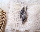 Modern retro -- Black rutilated quartz in 925 sterling silver earrings