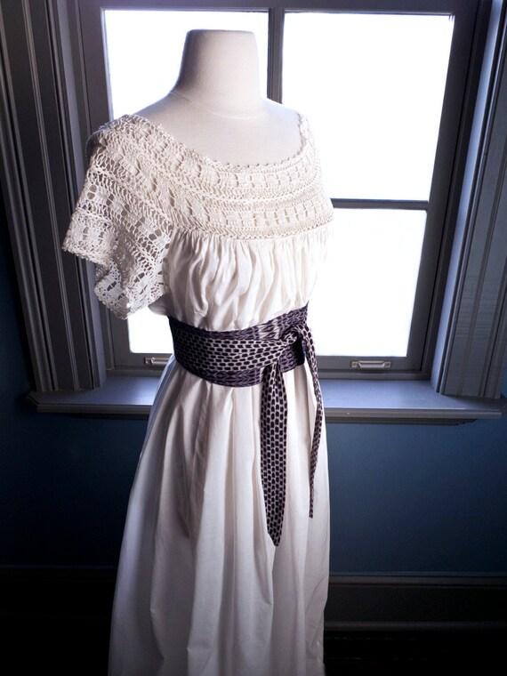 Vintage CROCHET LACE off-the-shoulder peasant maxi DRESS