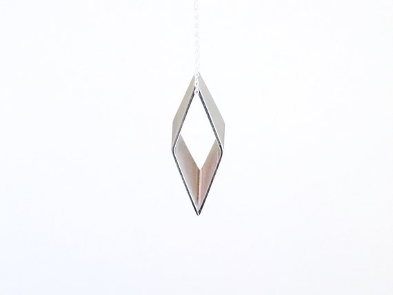 Large Rhombus Necklace - Modern Pendant - Silver Necklace - Minimal Geometric Necklace - Long Chain