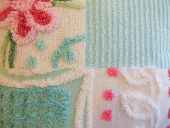 CHENILLE PILLOW  ...  Vintage cotton Chenille  ...  Pink and Aqua  ...   Floral  ...   Candy colors
