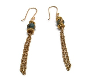 Dangle Earrings Long Chain Fringe and Stone with Gold Filled Ear Wires