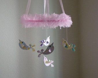 Medium Size Pretty Birds Baby Mobile Nursery Decor