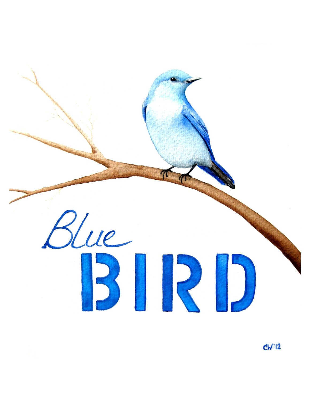 watercolor bluebird signed fine art print typography art. Black Bedroom Furniture Sets. Home Design Ideas