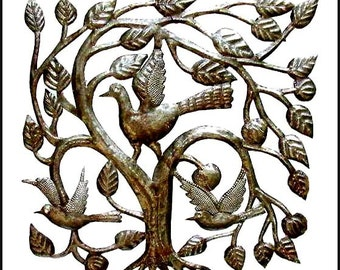 "Haitian Metal Art - Birds in Tree Metal Wall Hanging, Metal Art - Handcrafted Haitian Recycled Steel Oil Drum Art - 17""  - Wall Art -1643"