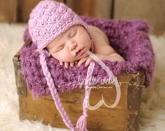 Newborn Photo Prop, Baby Girl Hat, Photography Prop, Purple Baby Hat, Baby Photo Prop, Crochet Shell Hat, Purple Photo Props