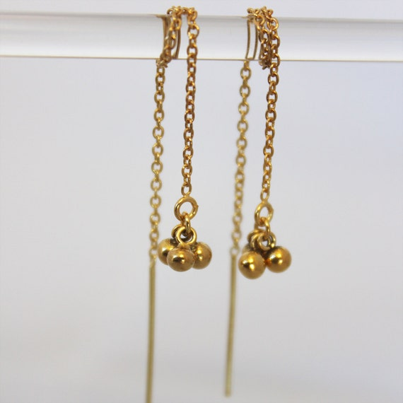 gold threader earrings. tiny ball clusters. delicate chain. 14k, 18k, or 24k gold vermeil • • katia chain earring