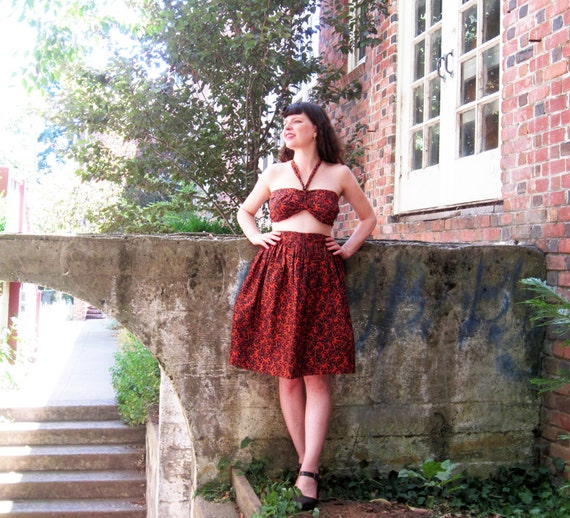 Do NOT Purchase Reserved for Raven Halter top skirt Two piece Handmade by Brightest Star Original Design M/L vintage inspired COTTON