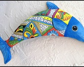 """Blue Dolphin Metal Wall Hanging - 24"""" Hand Painted Outdoor Garden Decor -  Handcrafted Metal Wall Art - Nautical Decor  - M300-BL-24"""