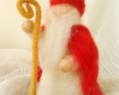 Needle felted Saint Nicholas, Waldorf art , Winter celebration , natural doll, winter natural scene, Christmas decoration - madamecraig