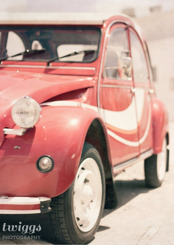 Red Car, Retro Style, 2CV, Vintage Style Art Print, Summer Style, Car Photography, wall Decor, Red, White