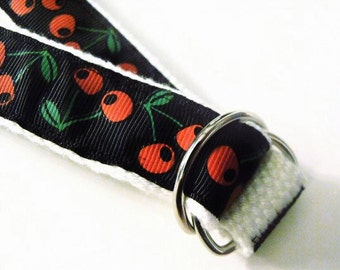 Adjustable Toddler Belt with Black Background and Red Cherries for Rockabilly / Retro Girl