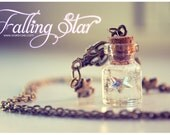 Swarosvki star Tiny glass Bottle Necklace, with glitter stars. Glass Vial necklace miniature Bottle charm Pendant Cute Necklace