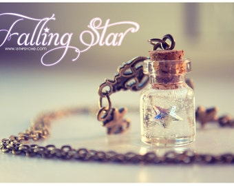 Swarovski star Tiny glass Bottle Necklace, with glitter stars. Glass Vial necklace miniature Bottle charm Pendant Cute Necklace