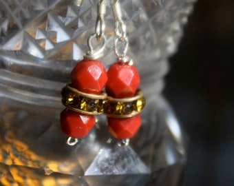Deep Red and Gold Rondel Earrings on sterling ear wires
