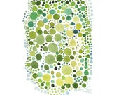 Original Art Watercolor painting green spring dots  Watercolor wall art bright chartreuse lime green circles