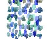 Watercolor art Sea Rocks Watercolor painting blue green watercolor print Abstract painting  blue nautical style