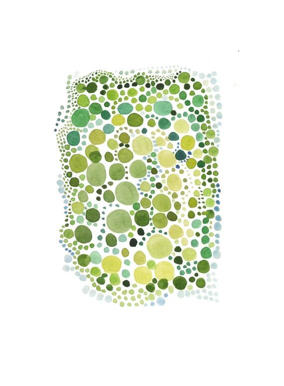 Original Art Watercolor painting green spring dots  Watercolor wall art bright chartreuse lime green circles