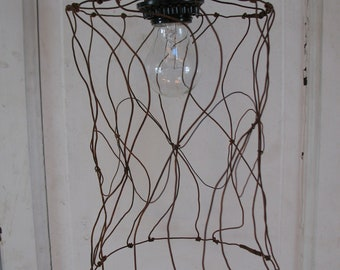 Rusty Spindle Lamp, Rust Lamp, Hanging Lamp, Lantern, Farmhouse Lamp