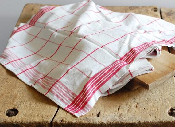 Set of 3 Vintage Kitchen Towels - Bright Red (Fuchsia) & White Grid Pattern - Martex