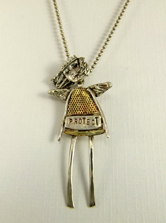 Angel Pia Protects From Prickles - Up Cycled Sterling, Brass Thimble, And PMC - Art Jewelry Pendant - 847
