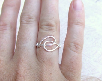 Holding Hands Friendship Ring Any Size Bridesmaids Gift Wire Wrap Ring Silver Ring Simple Ring Wire Wrap Artisan Handmade Jewelry Under 10