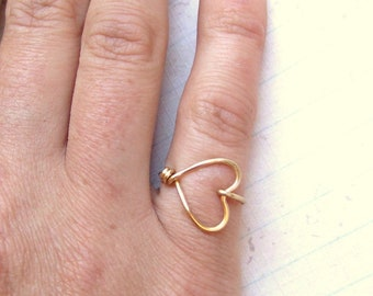 Sweetheart Ring Heart Ring Gold Silver Copper Ring I Love You Ring BFF Friendship Ring Bridesmaids Gift Jewelry Gifts Under 10