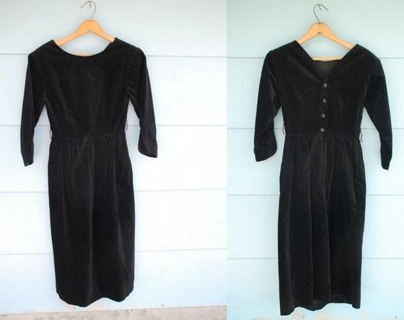 RESERVED. 1980s does 1950s. LANZ. black velvet dress. xs