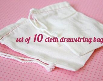 10 Cotton Muslin Bags . Rustic Gift Bag . Fun Craft Drawstring Natural Eco Cloth Pouch Sack Bags . Wedding Favor Bag