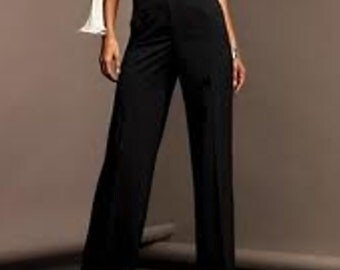 High waist wide pants made of Black Crepe Georgette,High Fashion CUSTOM ORDER, sizes from 2 to 18 or your measurements