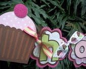 Cupcake Happy Birthday BANNER in pinks brown and green