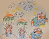 Vintage Bunny Star Cloud Parachute Iron On Scene