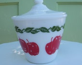 On RESERVE for RochelleH  DO NOT purchase if you are not RochelleH Vintage Fire King Grease Jar Apple Pattern White Milk Glass
