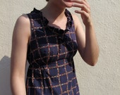1960s dress/ 60s dress/ floral grid-pattern and ruffled dress