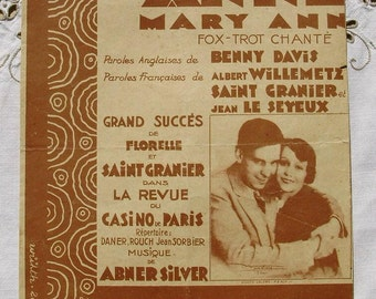 Vintage French Art Deco Style Song / Sheet Music of 1928 - Mary Anne