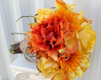 Wedding bouquet Bridal bouquet Calla lily dahlia Orange yellow brown Autumn fall silk flowers