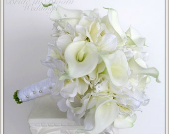 Brides wedding bouquet white calla lily Bridal bouquet
