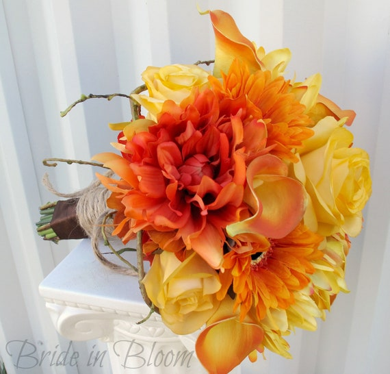 Wedding bouquet Bridal bouquet Calla lily dahlia Orange yellow brown Autumn fall silk flowers