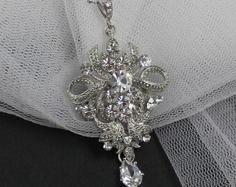 ON SALE Crystal Vintage Style Bridal Necklace, Victorian Style Wedding Necklace,  Bridal Jewelry, ROSALIND